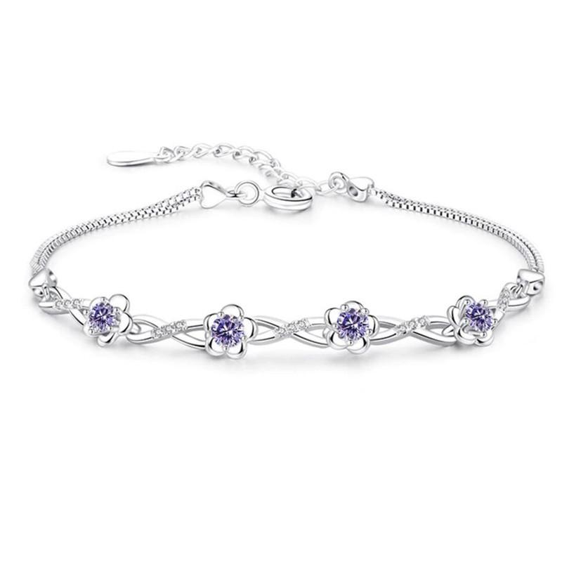 Zilveren armband met paarse zirkonia's
