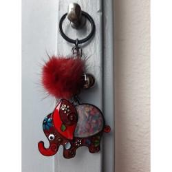 Olifant sleutelhanger rood