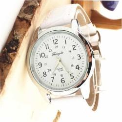 Grote horloge met witte band